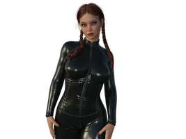 Michelle in a catsuit (Front) by MasterWayZ