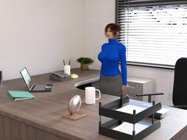 Michelle Godfrey - At attention in her office by MasterWayZ