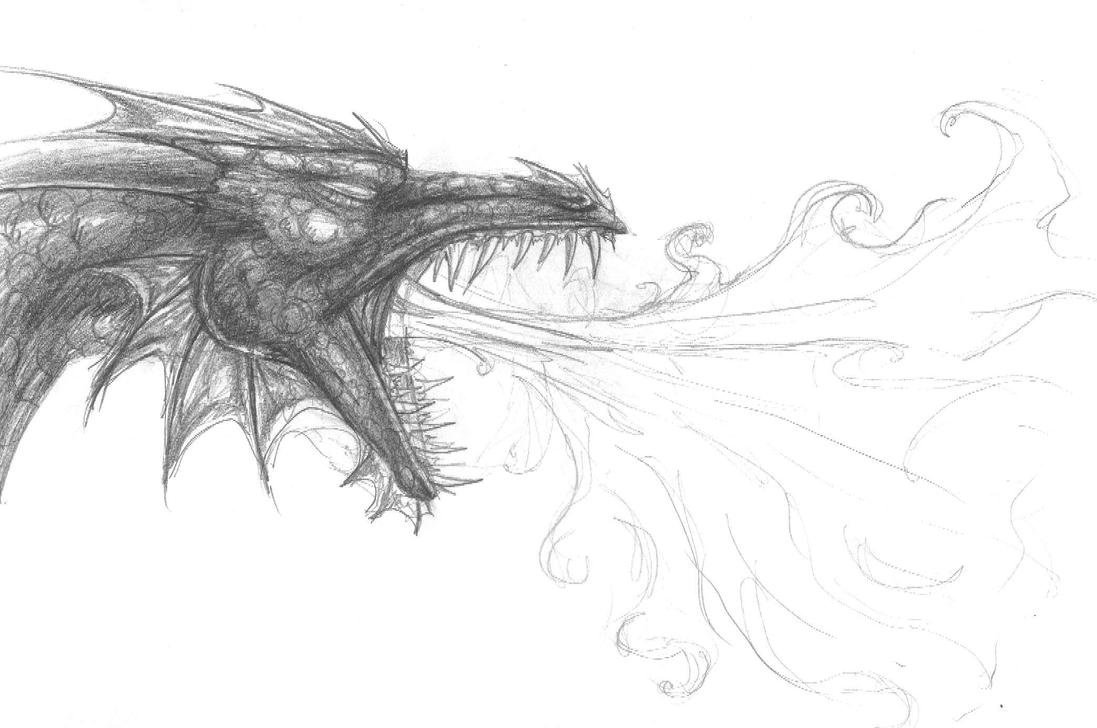 how to draw a dragon blowing fire