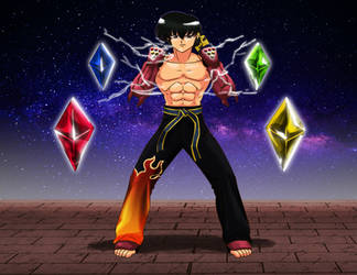 Commission: Hyperstone Ryoga And The Four Crystals by R-Legend