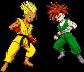 Commission: Super Saiyan Sean and Son Emerald