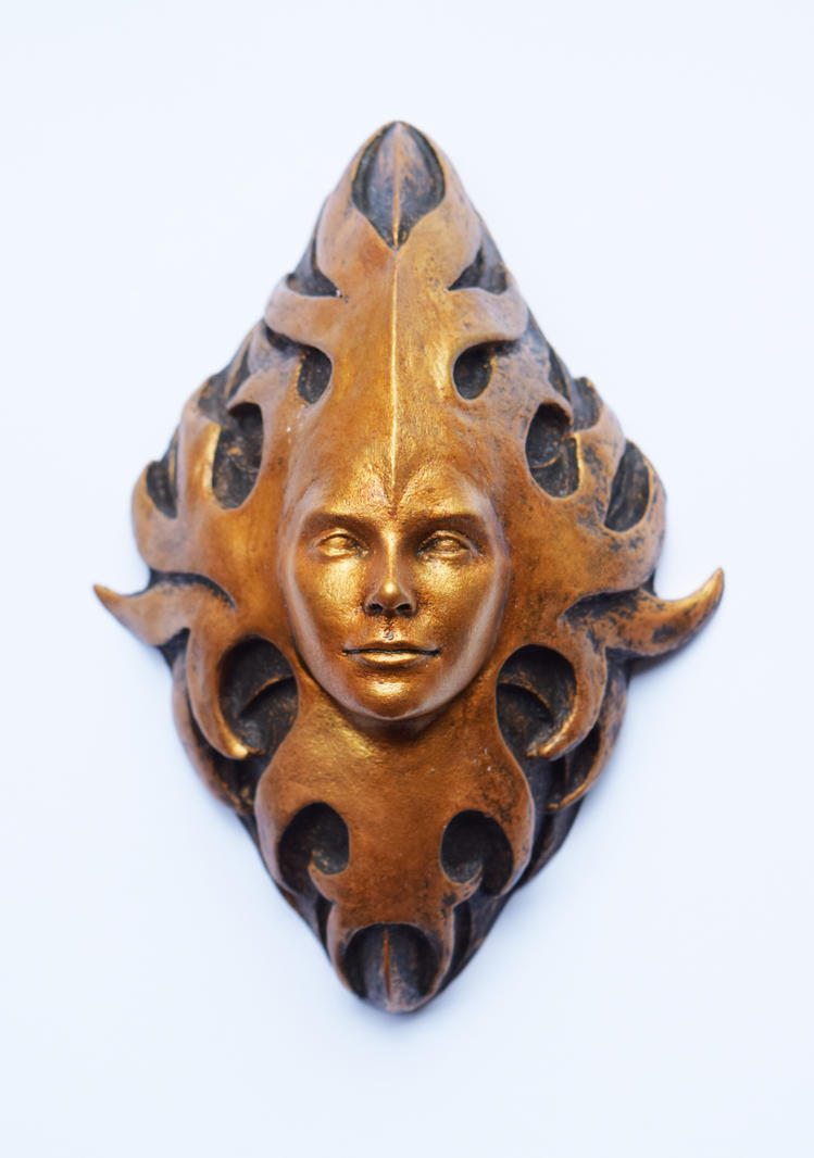Green Man resin plaque by ILexEcoArt