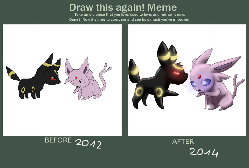 Draw this Again - Espeon Umbreon by Jellywolf25