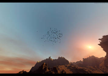 look at the birds in the sky, by Flamegfx