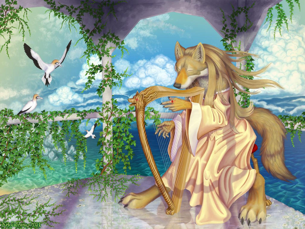 The song of the wolf, the harp, and the wind
