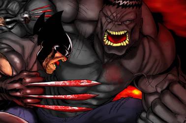 X-Force Wolverine X Grey Hulk by demonplague