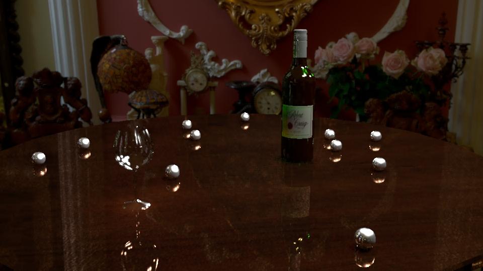 Maya wine and glass render by SmokingStories