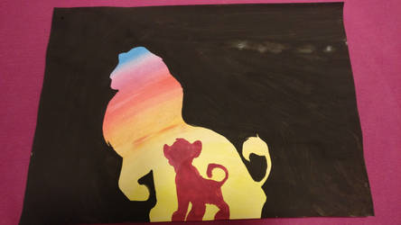 Lion King silhouette- First Try-Water Colors by BullerThePirate