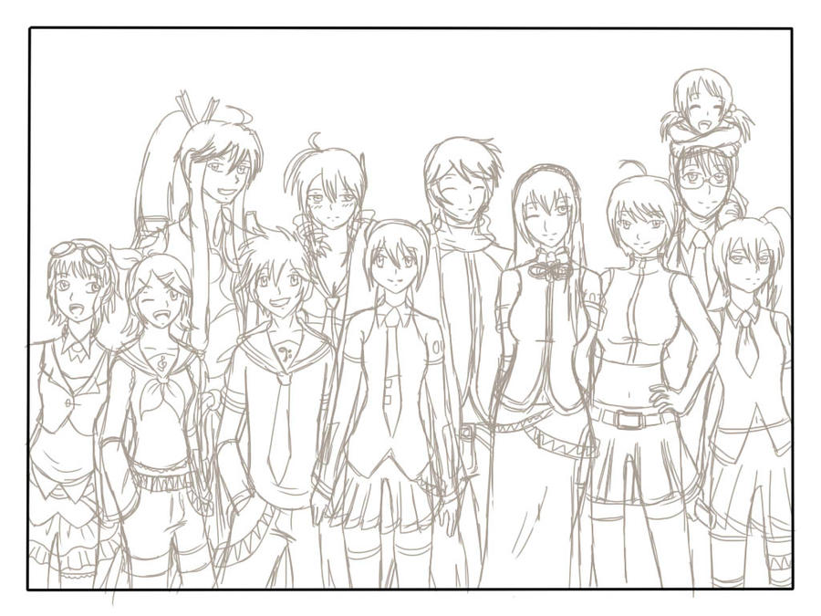 Line Art Group : Vocaloid group rough sketch by animeartist on deviantart