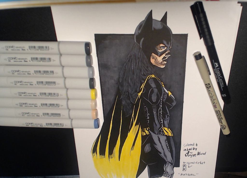 BatGirl Pencil - Inked and Colored by pixelatedxdeath