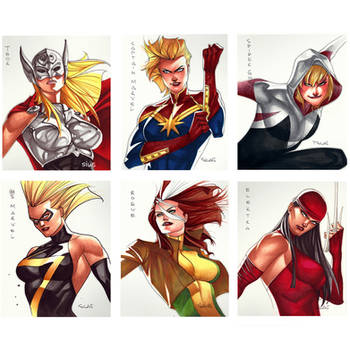 Marvel/DC  Girls - Cards 5x6