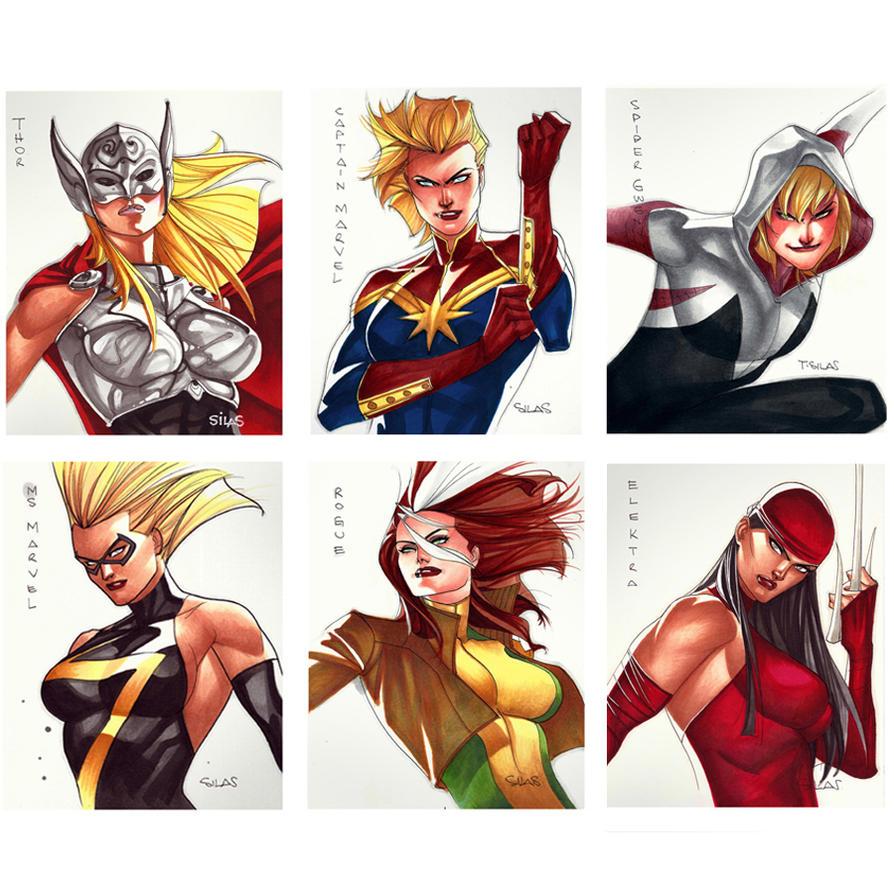 Marvel/DC  Girls - Cards 5x6 by taguiar