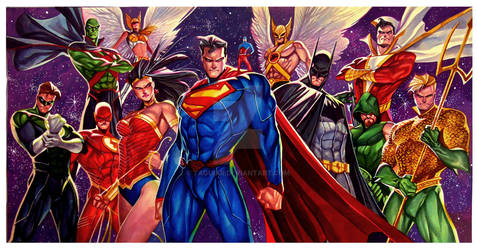 Justice League - Watercolor 20x30 - Commission