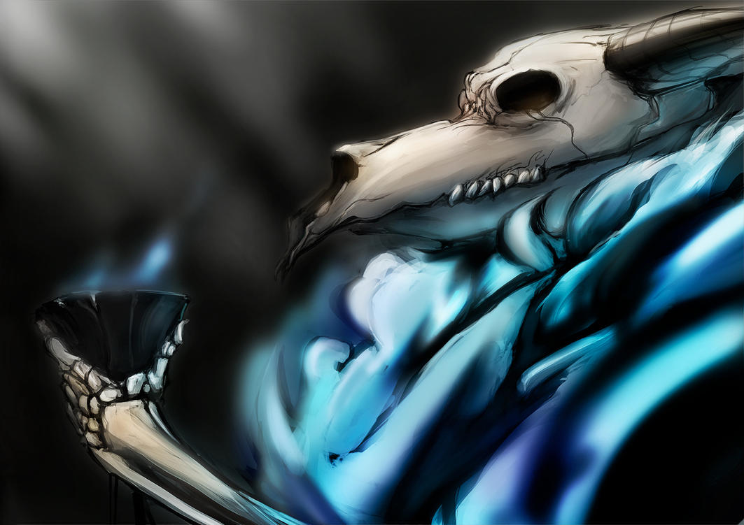 Skull Drawings With Blue Flames - Viewing Gallery Skulls And Wings Drawings
