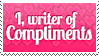 I, writer of Compliments Stamp by Celvas