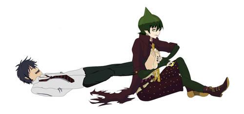 Rin okumura tickled by amaimon