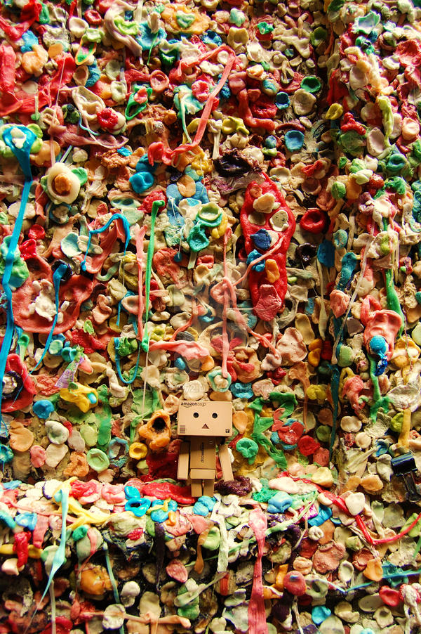 Danbo visits....Gum Wall ..... by Yuffie1972