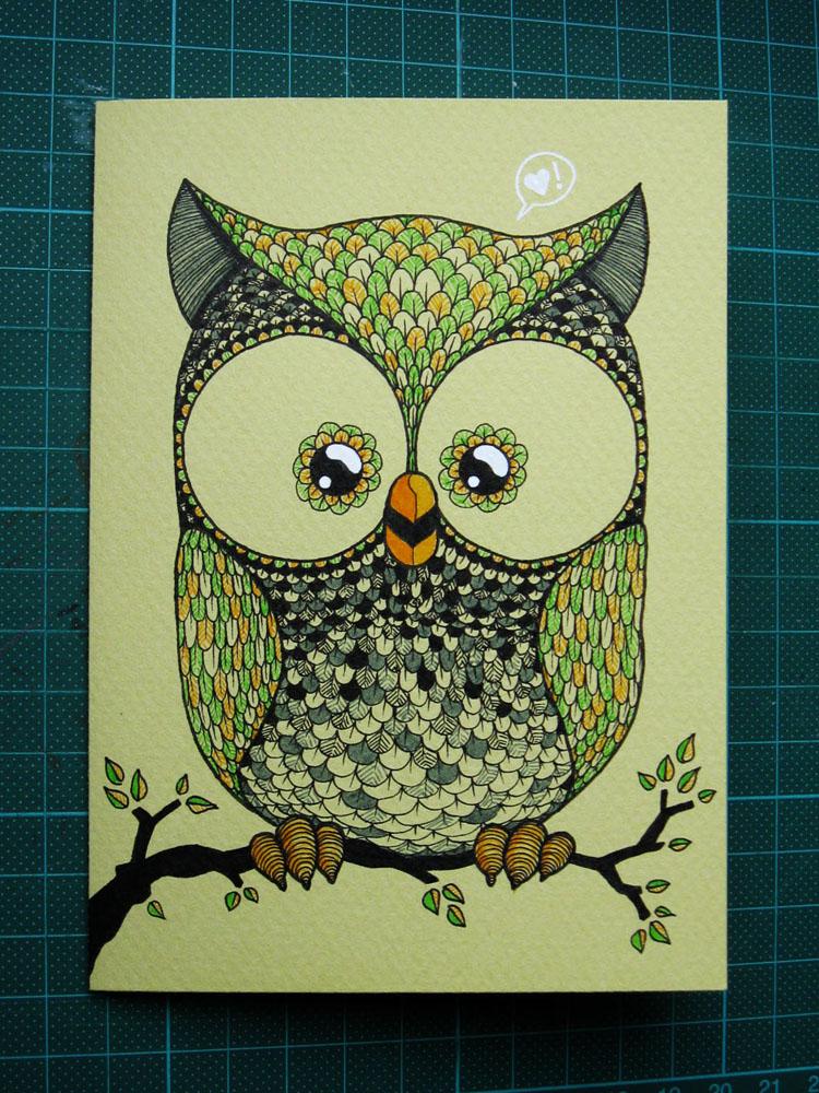 birthday card: owl by n-th-green