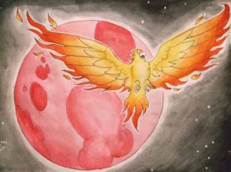 Aguila de Fuego y la Luna Entonada Roja by Caneleb
