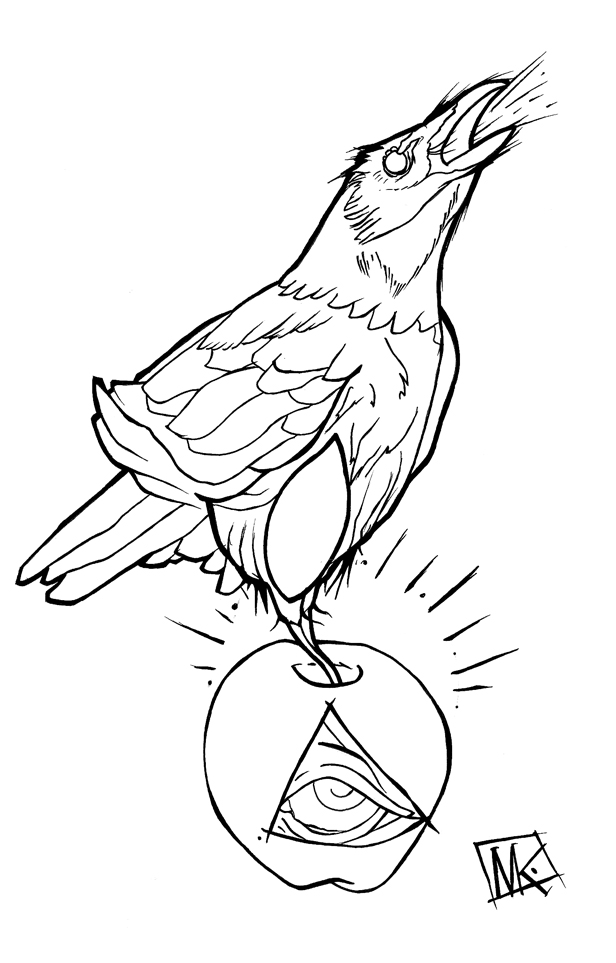 Line Drawing Raven : Crow linework by kirtatas on deviantart