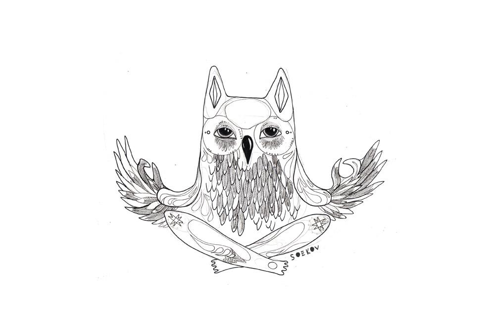 Meditating owl by Ferruti