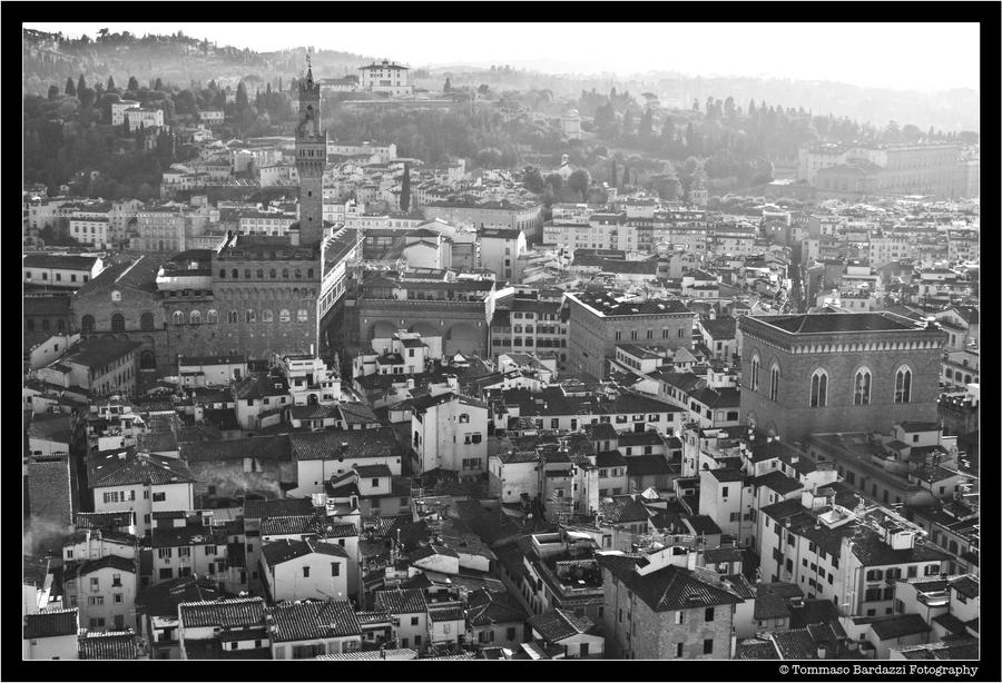 firenze from the cupola BW by scrawlmaster