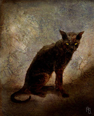 Cat painting, Vermilion by aaronsimscompany