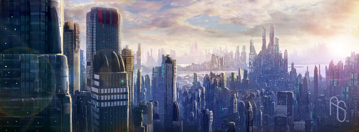 Futuristic City 1 by aaronsimscompany