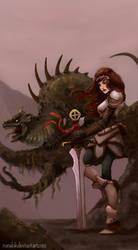 Girl, dragon and sword
