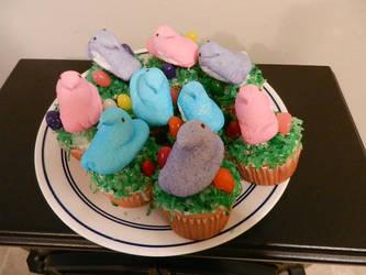 Marshmallow Peep Cupcakes by Pumpkin-Pie13