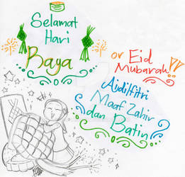 Happy Eid Mubarak for Muslim! (Sketch + Pen Color)