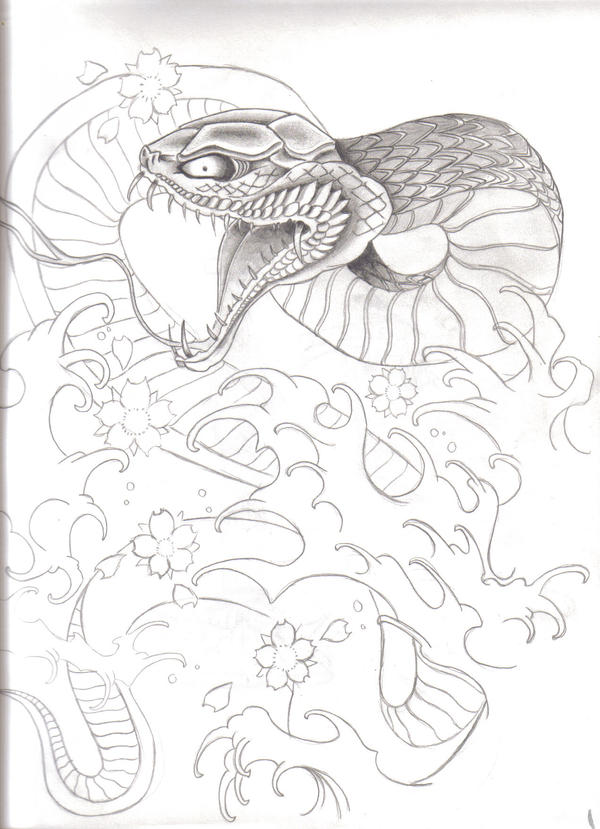 Snake Tattoo Line Drawing : Traditional japanese snake by hate crew on deviantart