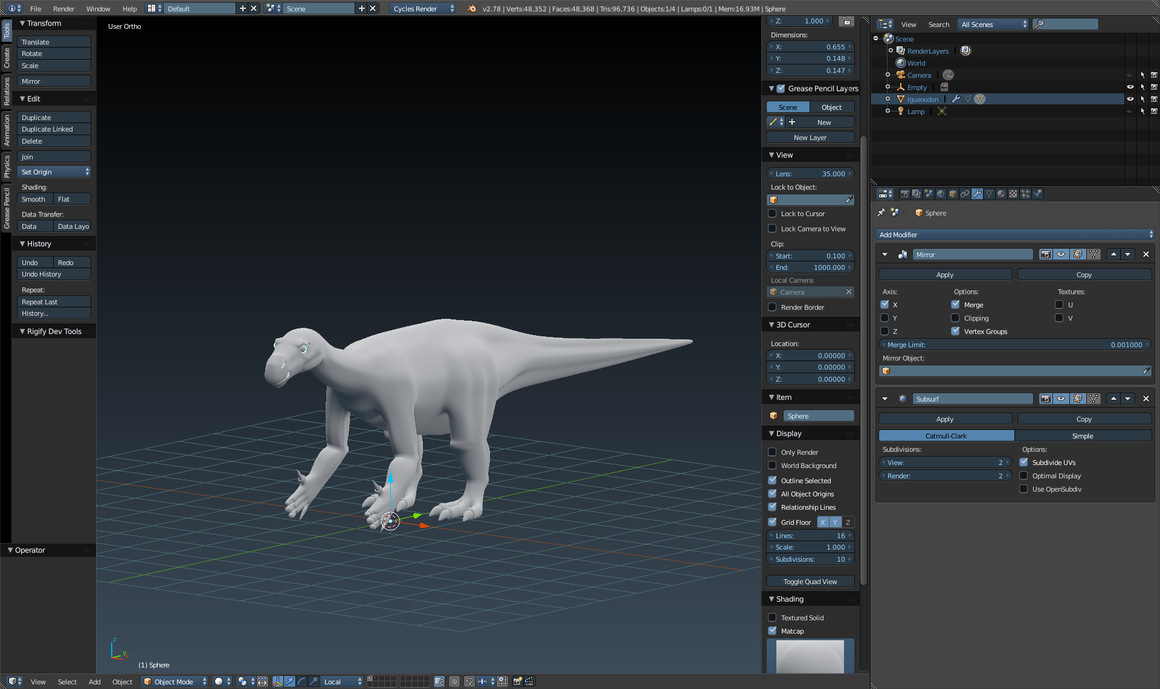 Iguanodon Model Improvement. by DinoBrony016