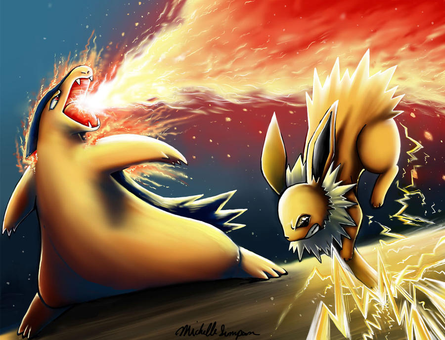 Jolteon dodges in time by michellescribbles