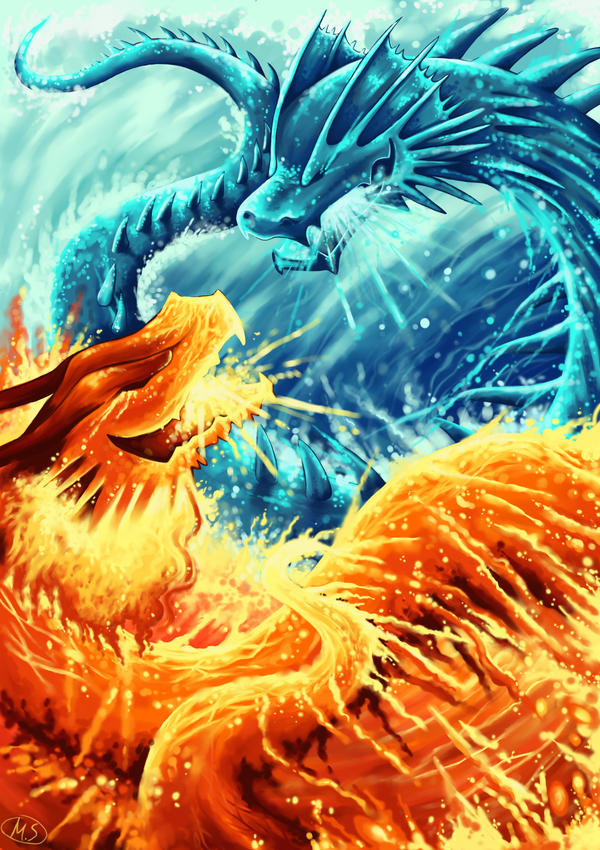 giant giant fire dragon vs ice dragon - photo #26