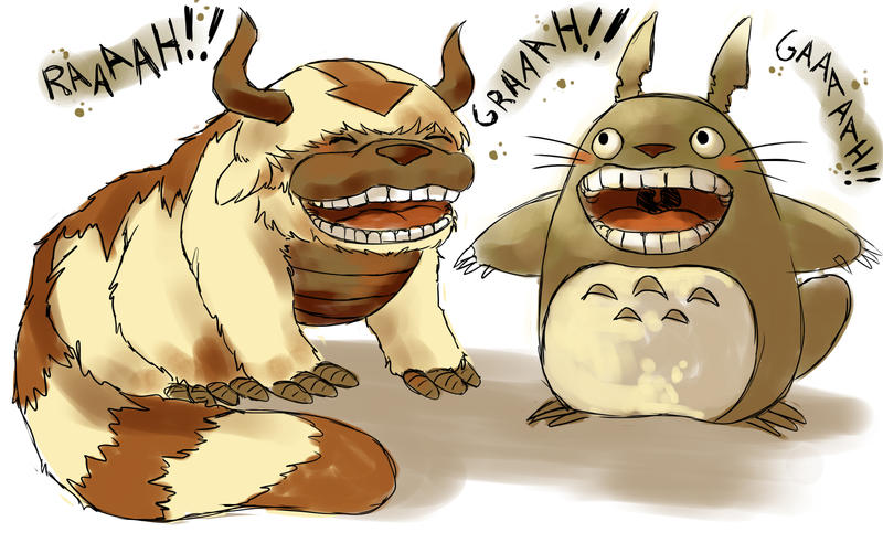 appa and totoro by michellescribbles