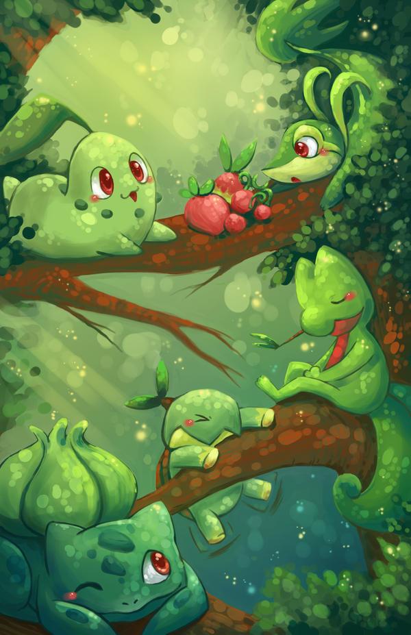 Grass Starter Pokemon Wallpaper Grass Starters by mich...