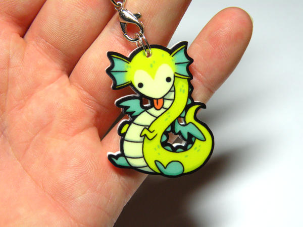 little grean dragon acrylic charm by michellescribbles