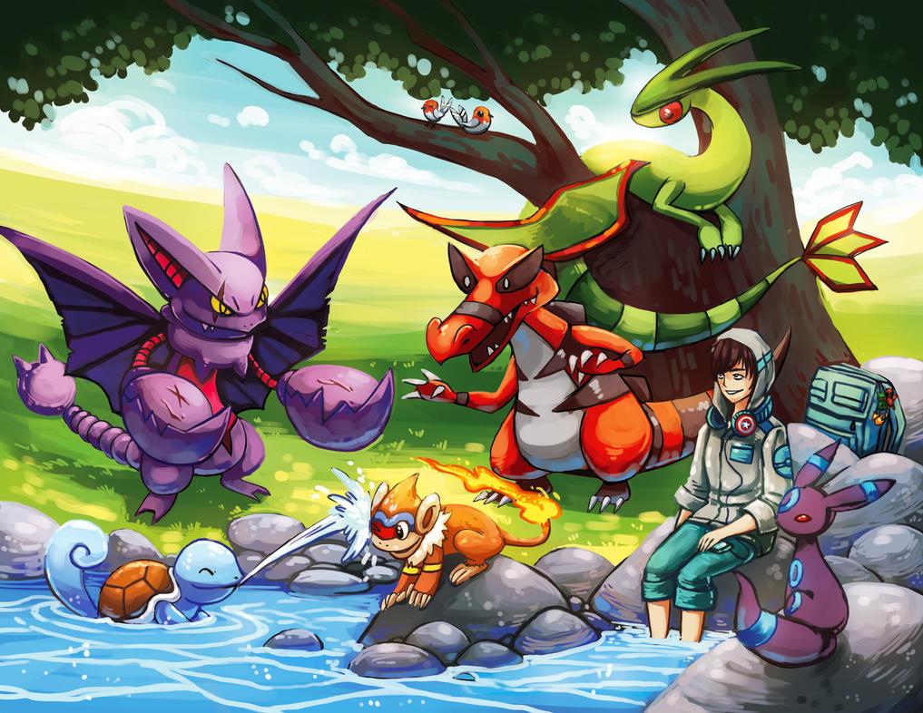 pokemon team commission: riverside break by michellescribbles