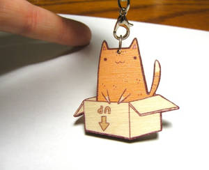 cat in a box wooden charm