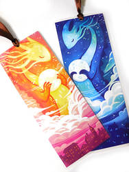 Sun and Moon Dragon Bookmarks by michellescribbles