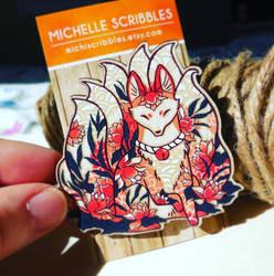 Kitsune, Ninetails fox brooch pin