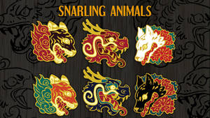Snarling Animals Enamel Pins