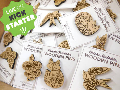 Artistic Wooden Animal Pins