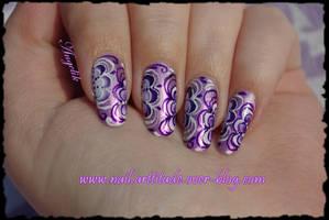 Nail Art Purple Flowers by Angelik23