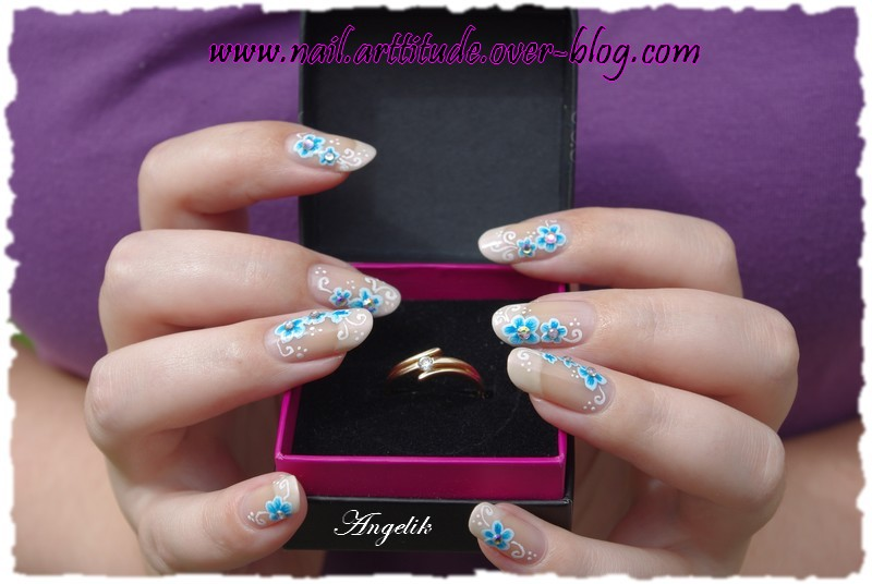 Nail Blue Flowers for a wedding by Angelik23
