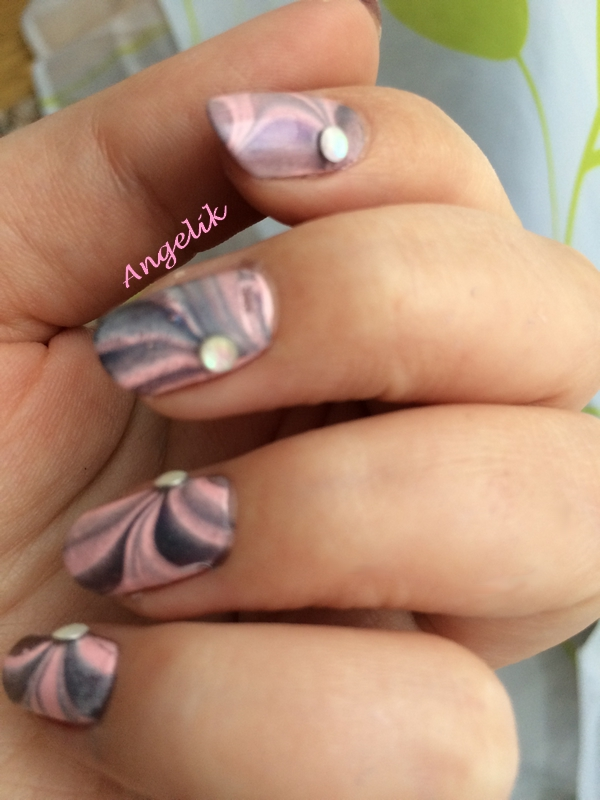 Water marble pink and grey by Angelik23
