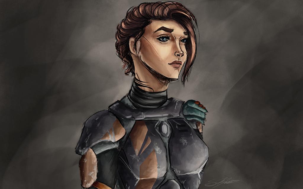 Aravin Dreysel - Mandalorian Character Sketchpaint by Kadira7211
