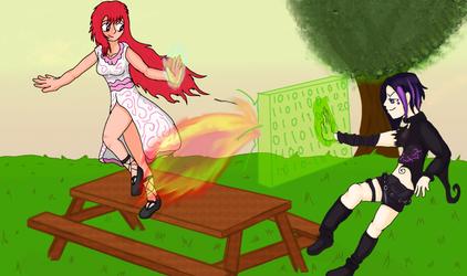 Tarina and Pulsa's Magical Spar by danio13