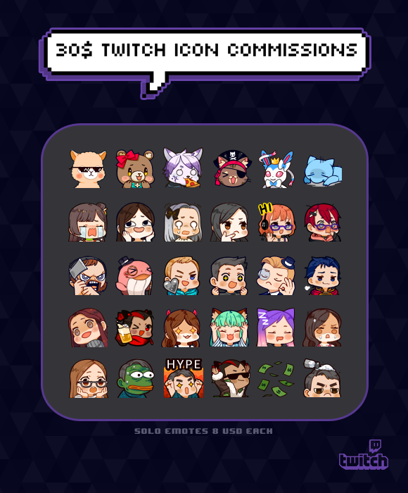 Sample Emotes by Owl-pudding